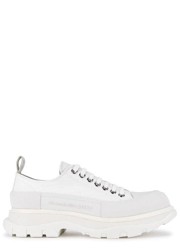 白色厚底帆布鞋