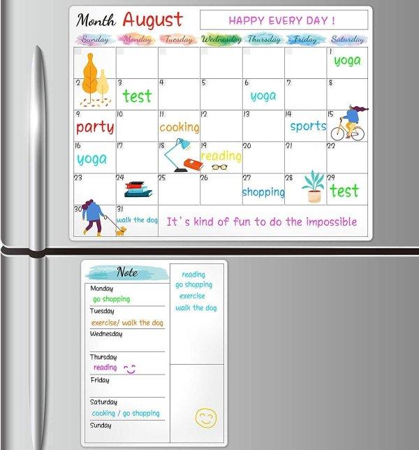 磁吸式月历白板 + 送购物单记录板2件套