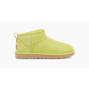 UGG周冬雨同款 罕见绿色Classic Ultra 迷你短靴
