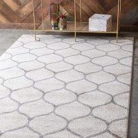 Unique Loom 几何图案装饰地毯 4X6 浅灰色
