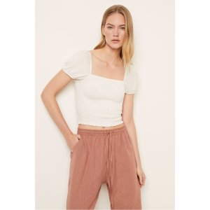 French ConnectionSOLID SMOCK SQUARE NECK TOP