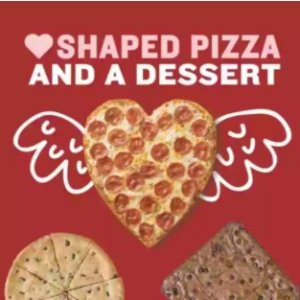 Only $15Papa John's Heart shaped 1 topping pizza and a double chocolate brownie