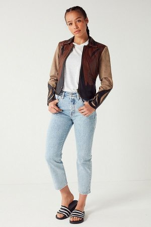 Urban Outfitters UO Leather Colorblock Jacket