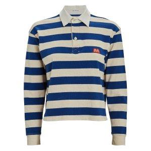 MotherCropped Stripe Polo Top