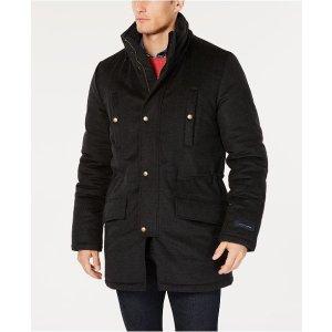 Tommy HilfigerMen's Modern-Fit Pilot Charcoal Tic Overcoat