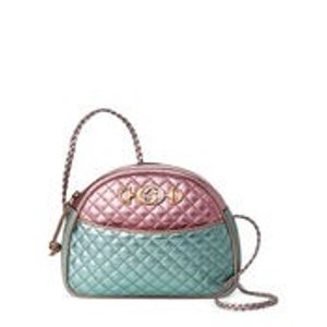 GucciPink & Blue Quilted Laminated Leather Small Shoulder Bag