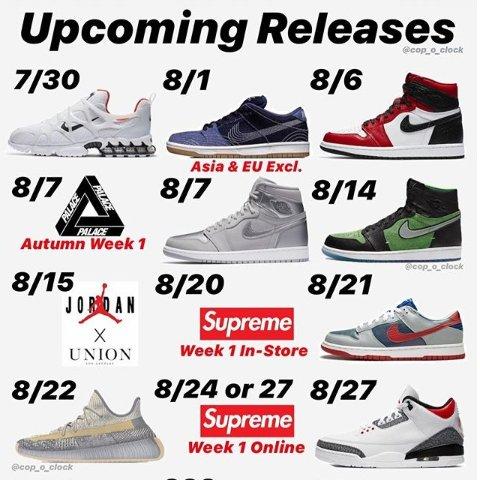 新款AJ1 Yeezy配色 你pick哪双2020 8月球鞋小报 持续更新ing 开启APP提醒不陪跑