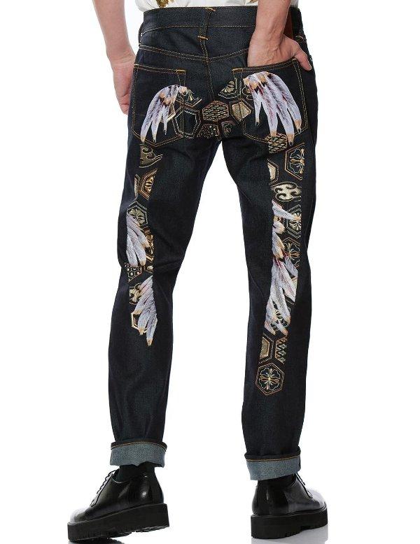 和风羽毛大M牛仔裤