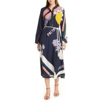 Tory Burch Scarf Print Embroidered 长袖连衣裙
