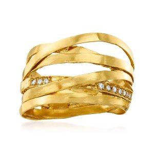 Ross-Simons18 K金镶钻戒指