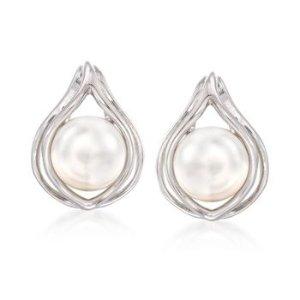 9-9.5mm Cultured Pearl Teardrop Earrings in Sterling Silver | Ross Simons