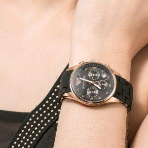 prime会员限时秒杀¥854史低价:阿玛尼 经典女士石英手表AR5905 暗夜玫瑰金