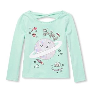 12a7e8d5 The Children's PlaceBaby And Toddler Girls Long Sleeve Embellished Graphic  Bow-Back Top