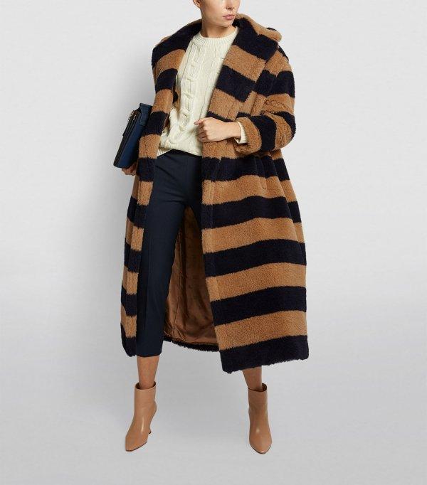 新款条纹泰迪大衣