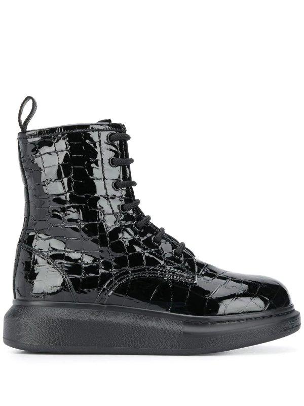 鳄鱼压纹厚底靴