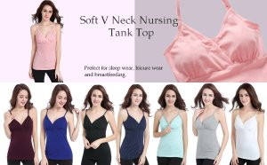 Nursing Tops Tank Shirts Cami for Maternity and Breastfeeding (Small: Fits for Weight 100-135 lb, Navy Dot+Light Green Dot+Black (3Pcs)) at Amazon Women's Clothing store