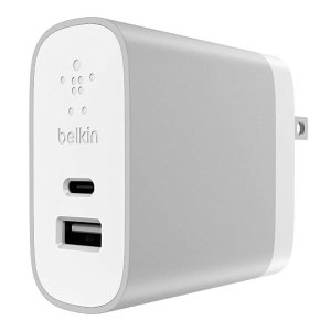 Belkin 27W (12W A + 15W C) Home Charger Dual Port, Compatible with iPhone Xs, XS Max, XR, X, 8, 8 Plus