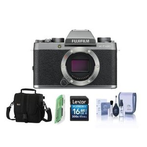 FujifilmX-T100 Mirrorless Digital Camera Body Silver With Free Accessory Bundle