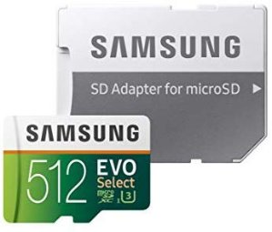 32GB as low as $5.99Samsung 100MB/s (U3) MicroSD Evo Select Memory Card with Adapter (MB-ME128GA/AM)