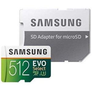 多容量可选 128GB仅$20.99Samsung EVO U3 100MB/s microSD 闪存卡带适配器