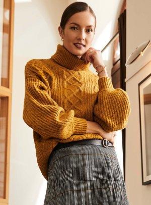 Bubble-sleeve cable sweater   Contemporaine