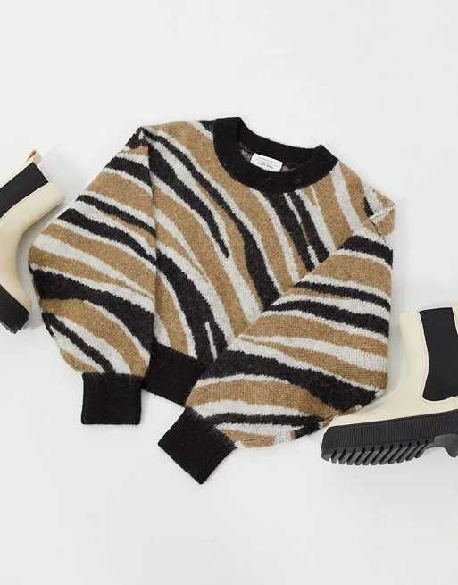 zebra intarsia 斑马纹毛衣