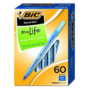 BiCRound Stic Xtra Life Ball Pen, Medium Point (1.0mm), Blue, 60-Count