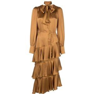 pussy bow midi dress