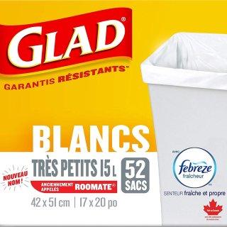 现价$4.72(原价$5.97)Glad 白色垃圾袋 15L小号 52个装 垃圾桶也充满清香