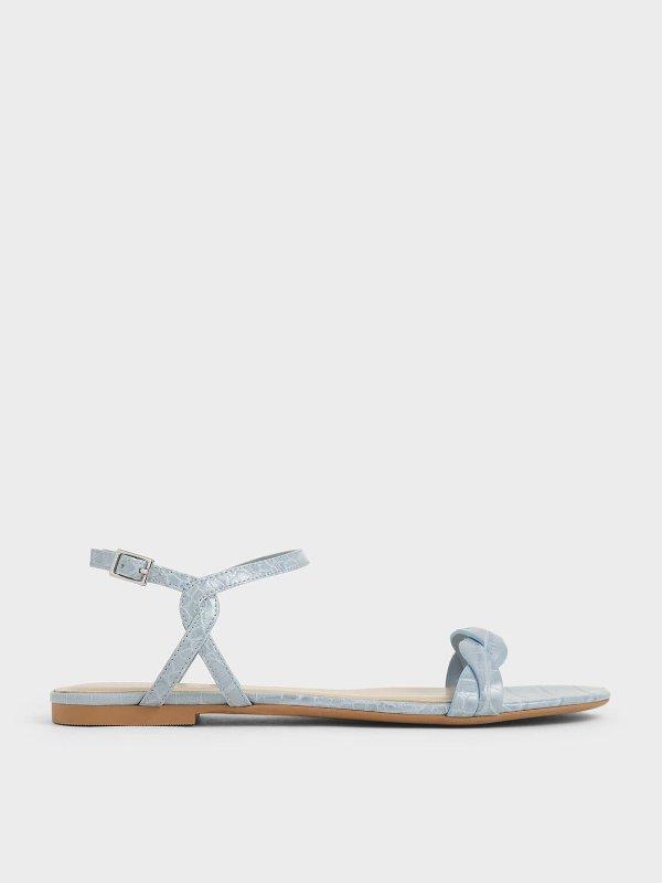 婴儿蓝鳄鱼纹凉鞋