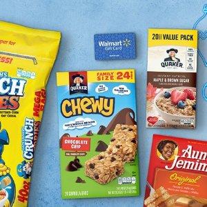 满$15送$5礼卡Walmart官网 购买指定 Quaker 品牌食品