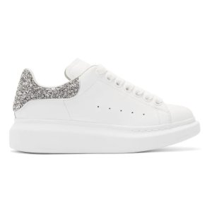 Alexander McQueen码全银色闪片小白鞋