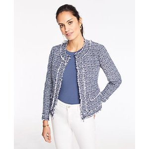 Ann TaylorFramed Fringe Tweed Jacket | Ann Taylor