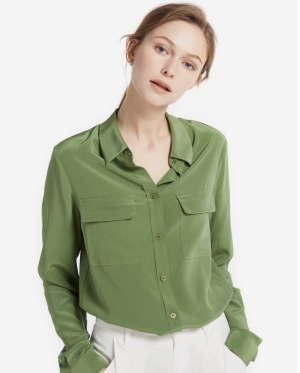 Basic Box Pleated Silk Shirts With Two Flap Pockets