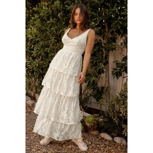 LULUSNow That I've Found You White Lace Tiered Maxi Dress