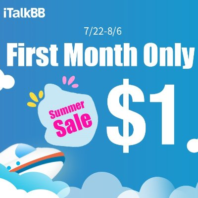 iTalkBB exclusive CNY deal $1 for first month - Dealmoon