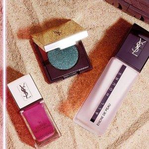 满两件即送限量版化妆包或毛巾YSL官网 彩妆来袭 粉底液、口红、明彩笔、限量腮红都有