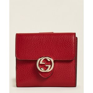 GucciRed GG Logo Leather Small Flap Wallet