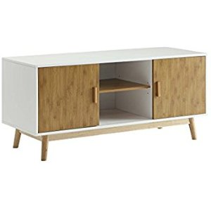 (9) 北歐風電視櫃:Convenience Concepts Designs2Go Oslo TV Stand, White