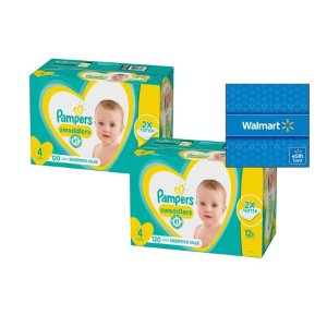 Buy 2, Get $15 Gift CardPampers Disposable Diapers @ Walmart