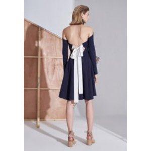 AlternaSensesDark Blue Backless Bowknot Dress