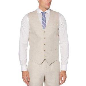 Perry EllisLinen Cotton Herringbone Suit Vest