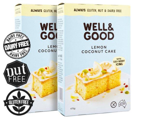 2 x Well & Good Gluten, Nut & Dairy Free Lemon Coconut Cake Mix 475g