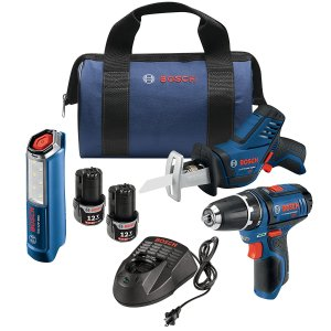 Today Only:$139Bosch GXL12V-310B22 12V Max 3-Tool Combo Kit with 3/8 In. Drill/Driver, Pocket Reciprocating Saw and LED Worklight