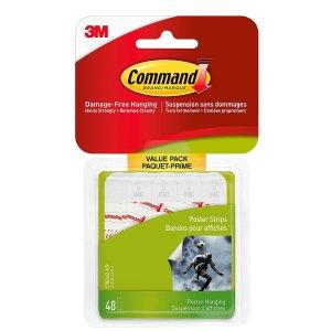 5.00(原价$9.98)白菜价:Command 海报双面胶 48对 墙面无损易清洁