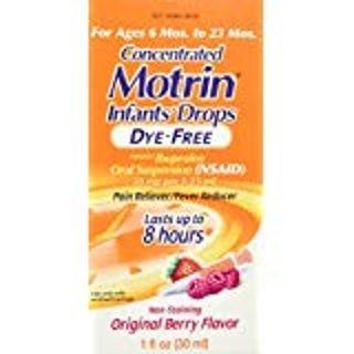 Children's Motrin Oral Suspension Dye-Free Berry, Ibuprofen, Fever Reducer, 4 Oz @ Amazon