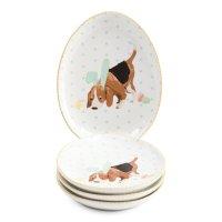 4pk 小狗图案餐盘