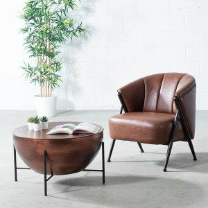 棕色复古皮革休闲椅