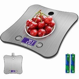 $16.99(原价$24.99)史低价:ADORIC 时尚不锈钢厨房电子秤 带有去皮测量+校准功能