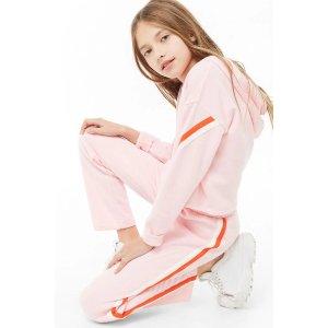 女童条纹运动裤